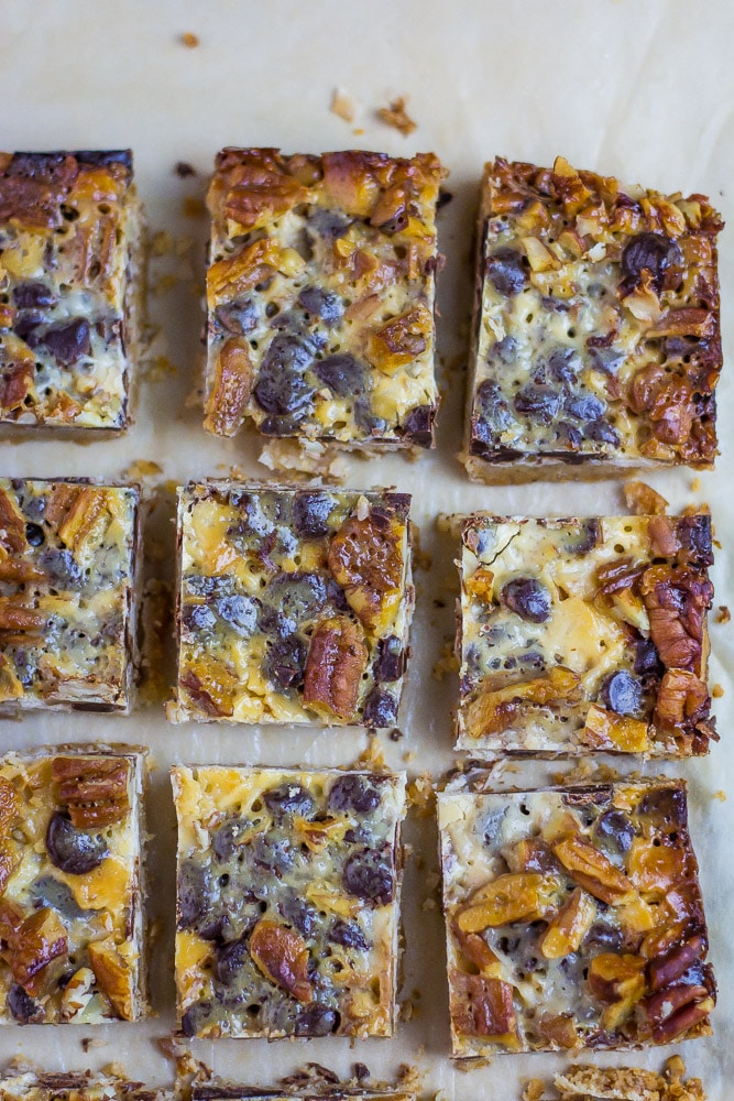 Close up of Keto Magic Bars on cutting board