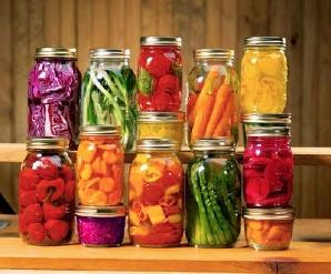 Jars of colorful veg