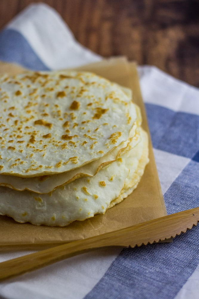 Stack of Keto Tortillas on kitchen towel