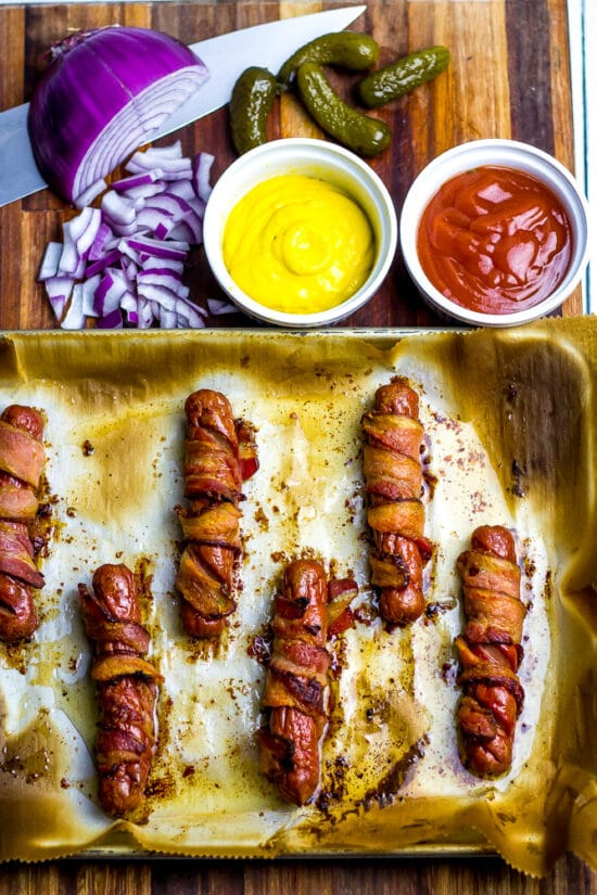 Keto Bacon Wrapped Dogs